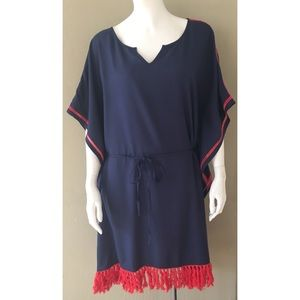 Ariat Dresses - ARIAT KATY NAVY RED FRINGE KAFTAN DRESS SZ M